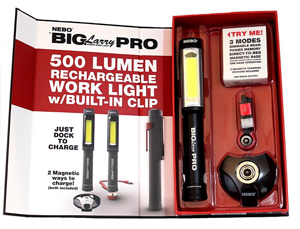 Big Larry Pro käsivalaisin, jossa valoa tehoa 500 lumenia. Ladattavaissa USB-laturilla.